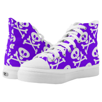 Skull and Crossbones White Purple Printed Shoes