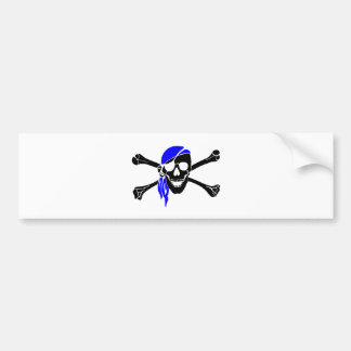 Skull And Crossbones With Bandana Bumper Stickers