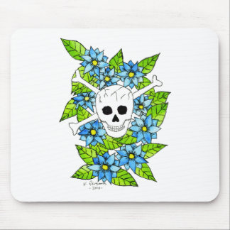 Skull and Crossbones with Flowers Mouse Pads