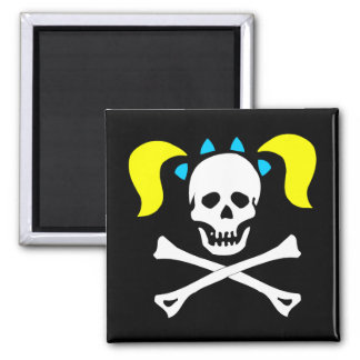 Skull and Crossbones With Pigtails 2 Inch Square Magnet
