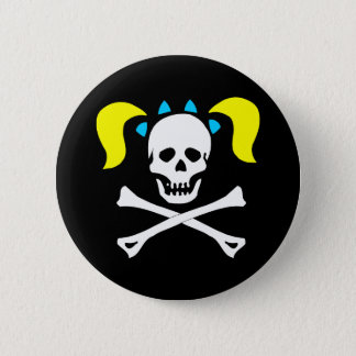 Skull and Crossbones With Pigtails Button