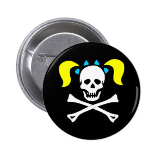 Skull and Crossbones With Pigtails Pins