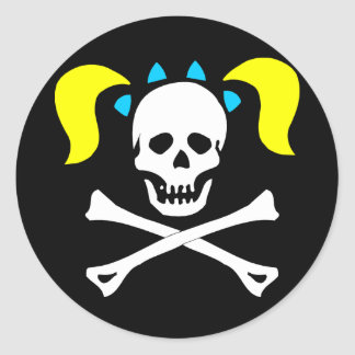 Skull and Crossbones With Pigtails Classic Round Sticker