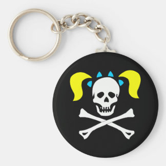 Skull and Crossbones With Pigtails Keychain
