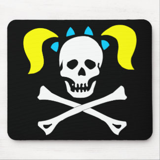 Skull and Crossbones With Pigtails Mouse Pad