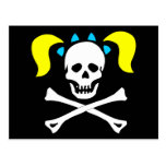 Skull and Crossbones With Pigtails Postcard