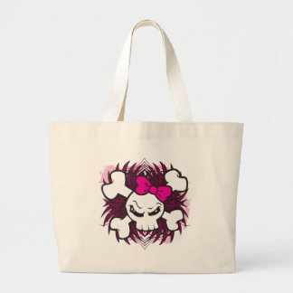 Skull and Crossbones with Pink Bow plus Tribal Large Tote Bag