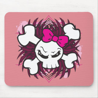 Skull and Crossbones with Pink Bow plus Tribal Mouse Pad