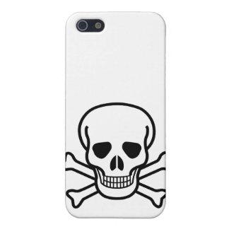 Skull and Crossed Bones Black on White iPhone SE/5/5s Cover