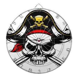 Skull and Crossed Bones Pirate Dartboard With Darts