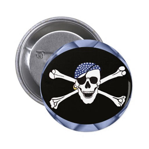 Skull and Crossed Bones Pirate Flag 2 Inch Round Button