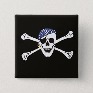 Skull and Crossed Bones Pirate Flag Button