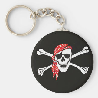 Skull and Crossed Bones Pirate Flag Basic Round Button Keychain