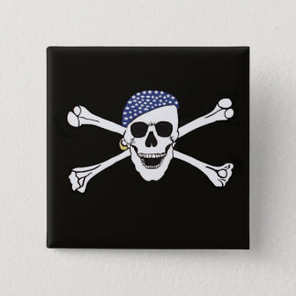 Skull and Crossed Bones Pirate Flag Pinback Button