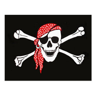 Skull and Crossed Bones Pirate Flag Postcard