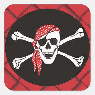 Skull and Crossed Bones Pirate Flag Square Sticker