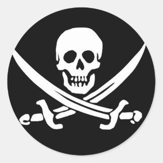 Skull and Crossed Bones Pirate Flag Classic Round Sticker