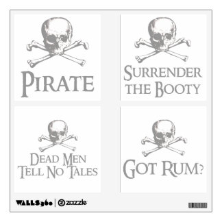 Skull and Crossed Bones Pirate Party Pack Wall Decal