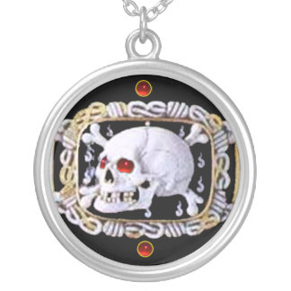 SKULL AND CROSSED BONES RUBY  RENAISSANCE JEWEL SILVER PLATED NECKLACE
