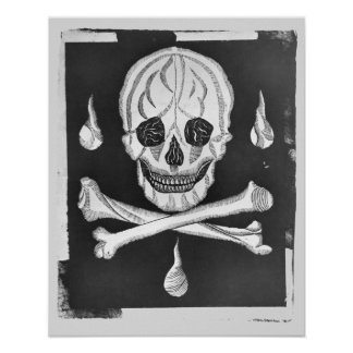 Skull and Crossed Bones Vintage Anatomical Print