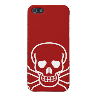 Skull and Crossed Bones White on Red Case For iPhone SE/5/5s