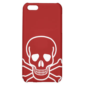 Skull and Crossed Bones White on Red iPhone 5C Covers