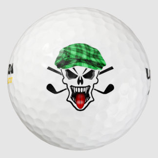 Skull and Crossed Golf Clubs Golf Balls
