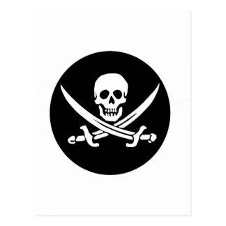 Skull and Crossed Swords Pirate Flag Postcard