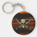 Skull and Crossed Swords w/Red Sky Background 1 Key Chain