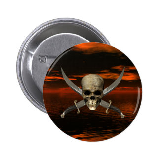Skull and Crossed Swords w/Red Sky Background 1 Pinback Button