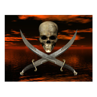 Skull and Crossed Swords w/Red Sky Background 2 Postcard