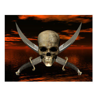 Skull and Crossed Swords w/Red Sky Background Postcard