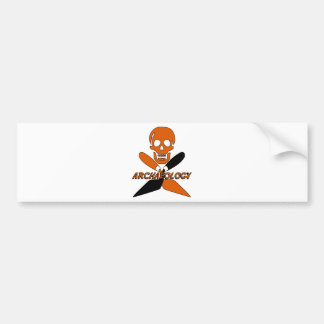 Skull and Crossed Trowels Archaeology Car Bumper Sticker
