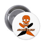 Skull and Crossed Trowels Archaeology Pinback Button