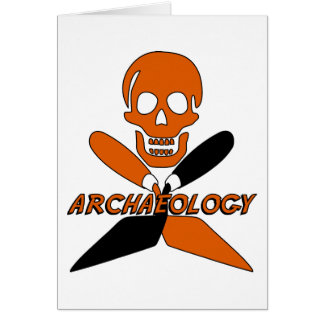 Skull and Crossed Trowels Archaeology Greeting Card