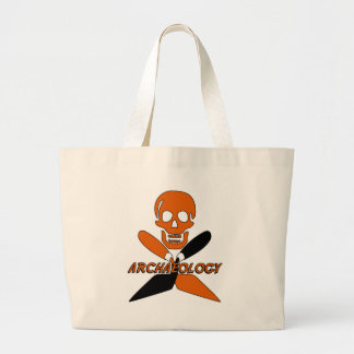 Skull and Crossed Trowels Archaeology Large Tote Bag