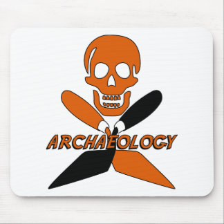 Skull and Crossed Trowels Archaeology Mouse Pad