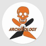 Skull and Crossed Trowels Archaeology Round Sticker