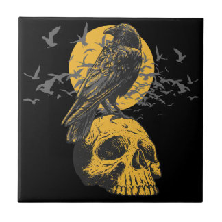 Skull and Crow Small Square Tile