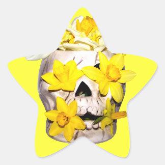 Skull and Daffodils Star Sticker