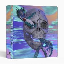 skull, skulls, cross, bones, crossbones, bone, pirate, pirates, skeleton, skeletons, anatomy, scary, halloween, holiday, holidays, dead, death, dark, dragon, dragons, castle, castles, medieval, fantasy, fantasies, fire, attack, flames, flame, fly, fling, creature, creatures, sky, skies, monster, monsters, demon, demons, evil, Binder with custom graphic design