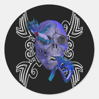 Skull and Dragon Tattoo Sticker