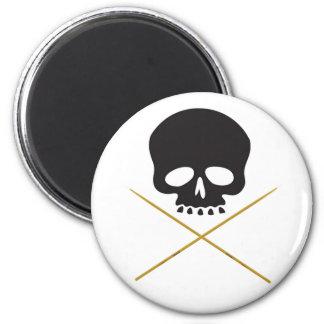 Skull and Drumstick Crossbones 2 Inch Round Magnet