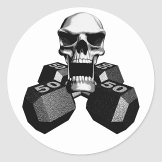 Skull and Dumbbells Classic Round Sticker