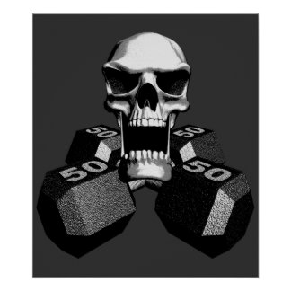 Skull and Dumbbells Poster