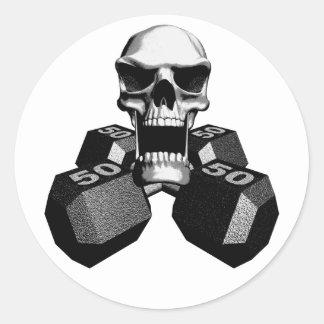 Skull and Dumbbells Round Sticker