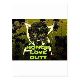 skull and duty postcard