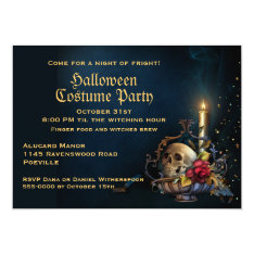 Skull And Fall Leaves Halloween Party Card at Zazzle