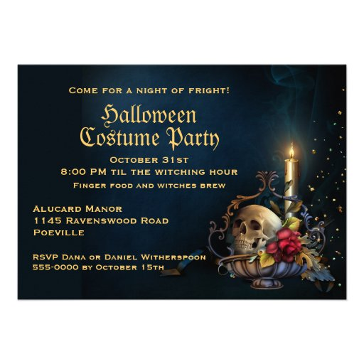 Skull and Fall Leaves Halloween Party Custom Invites