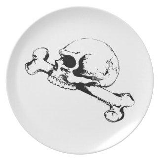 SKULL AND FEMUR DINNER PLATES